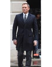 Mens Navy Blue Peak Lapel Spectre James Bond Coat