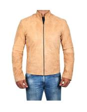 Mens MOROCCO Modern Style Brown Genuine Suede Leather Jacket
