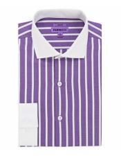 S32 # Spread Collar Slim Fit Dress Shirt Cotton