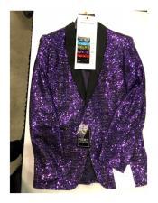 Mens Single Breasted One Button Purple Blazer