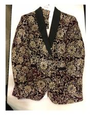Mens Floral Pattern Maroon ~ Gold
