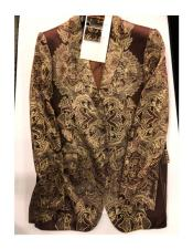 Mens Floral Pattern Double Breasted One Button Brown ~