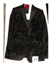 Mens Two Button Double Breasted Black Blazer