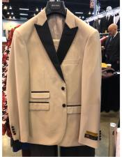 Mens Natural Tan Beige Champagne 1920s Tuxedo Style Peak