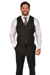 Mens Black Vest & Tie & Matching Dress Pants