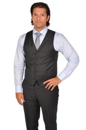 Mens Charcoal Vest & Tie & Matching Dress Pants