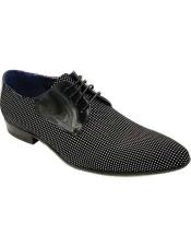 Mens Lace Up Cap Toe Four Eyelet Lacing Black