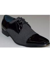 Mens Black ~ White Pin Dot Lace Up Zota