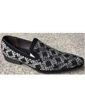 Mens Black Zota Unique Mens Dress Shoes Crystal Geometric