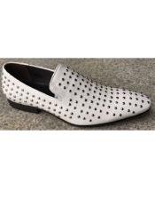 Mens Silver Studs White Zota Unique Mens Dress Shoes