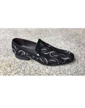 Mens Embroidered Pattern Black Slip On Zota Unique Mens