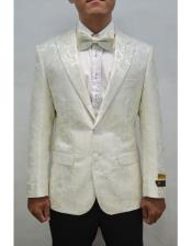 White And Silver Mix With ivory Tuxedo Blazer With