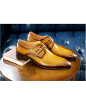 Monkstrap Buckle Closure Tan Carrucci Shoe