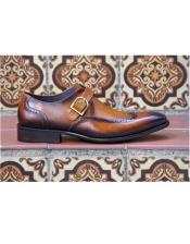 Slip On Cognac Wingtip Design Carrucci Shoe