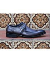 Black Slip-On Wingtip Design Carrucci 1920s style fashion mens