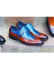 Blue ~ Cognac Shoe Wingtip Design Carrucci Shoe