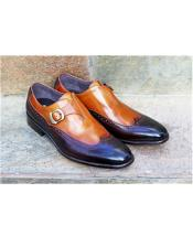 Brown ~ Tan Slip-On Wingtip Design Carrucci Shoe