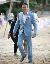 MensBeachWeddingAttireSuitMenswearBlue$199