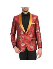 Red and Gold Floral Shawl Collar Tuxedo Dinner Jacket