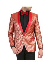Red and Gold Floral Shawl Collar Dinner Jacket Tuxedo