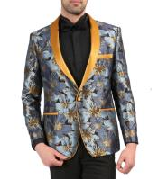 Mens Single Breasted Shawl Lapel Blue