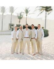 Mens Beach Wedding Attire Suit Menswear Beige Vest and