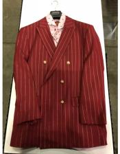 Burgundy and Gold Stripe Double breasted Blazer ~ Suit