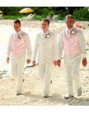 Mens Beach Wedding Attire Suit Menswear Beige $199