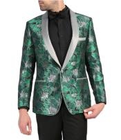 Mens Single Breasted Shawl Lapel Green