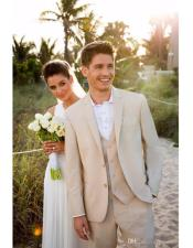 Mens Beach Wedding Attire Suit Menswear Beige $199