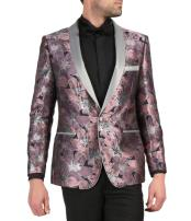 Mens Single Breasted Shawl Lapel Rose