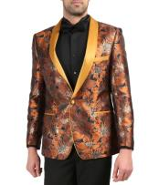 Mens Single Breasted Shawl Lapel Rust