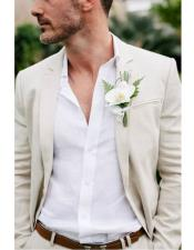 Mens Beach Wedding Attire Suit Menswear Ivory $199