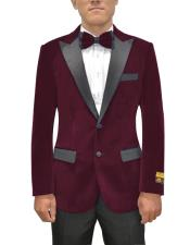 Button Peak Lapel Maroon