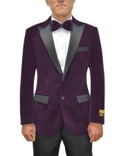 mens Single Breasted Peak Lapel Eggplant