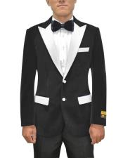 Single Breasted Peak Lapel Black Two Button Mens Fancy