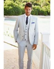 Mens Beach Wedding Attire Suit Menswear Light Gray $199