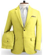 Single Breasted Safari Yellow Two Button / Beach Wedding