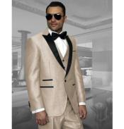 Beige Peak Lapel Tuxedo One Button