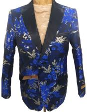 mens Navy Blue Floral Pattern Blazer