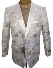mens White ~ Gold Floral Pattern
