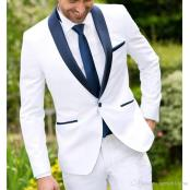 Mens White and Navy Blue