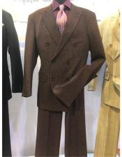 breasted flap front pocket brown suit men's