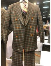 khaki peak lapel wool suit with button closure