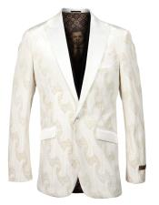 #JA1041 Mens Single Breasted Peak Lapel Fancy Pattern Off