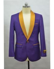 Gras Black and Purple Tuxedo Dinner Jacket Purple &