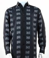 Fashion Full Cut Long Sleeve Squares Stripe Black Shirt