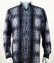 Mens Full Cut Long Sleeve  Black Fashion Shirt