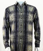 Full Cut Long Sleeve  Black Fashion Shirt