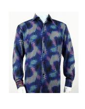 Full Cut Long Sleeve Royal Houndstooth Fashion Shirt